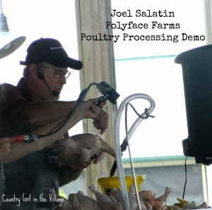 Joel Salatin processing chickens at the Mother Earth News Fair